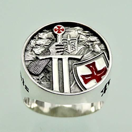 Ritter Templer Rote Emaille Handmade Sterling Silber 925 Ring Kreuz Freimaurer Schmuck Juwelen Silverzone77