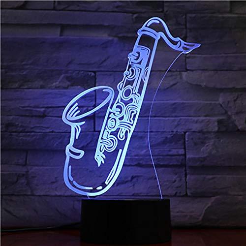 SHJDY Saxofoon muziekinstrument – nachtlampje, 7 kleuren, 3D-slaapplicht, led-flits, afstandsbediening, geschikt voor decoratie van de kamer, kerstcadeau