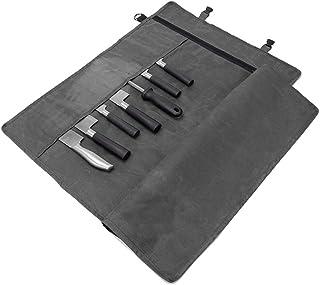 HANSHI Chef Knife Roll Bag 12OZ Waxed Canvas Portable Knife Bag Case Storage Tote Stores 10 Cuchillos + Cremallera para Herramientas culinarias para cocinar Chef