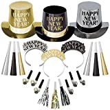 """Throw the best NYE party with the Opulent Affair New Year's Party Kit featuring party supplies and the phrase """"Happy New Year!"""" on 50 top hats for the gentlemen The """"Happy New Year!"""" phrase stands out on the gold, silver, and black glitter tiaras (50..."""