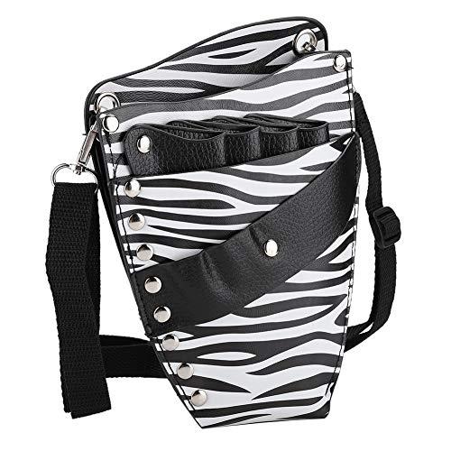 Bolsa de almacenamiento de herramientas de peluquería portátil, clips de cabello PU Hecho de cuero Material Diseño de diseño (blanco)