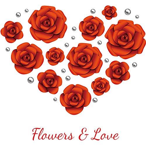 Wandtattoo, DIY Rote Rose Blumen Wandaufkleber PVC Mode Tapete Fernseher Hintergrund Wand Aufkleber Kindergarten Wandsticker Wohnzimmer Proumy (rot)