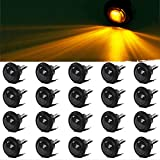 Partsam 20Pack 3/4' Inch Mount SMOKED LENS & Amber LED Clearance Markers, side marker lights, led marker lights, led side marker lights, led trailer marker lights, trailer marker light