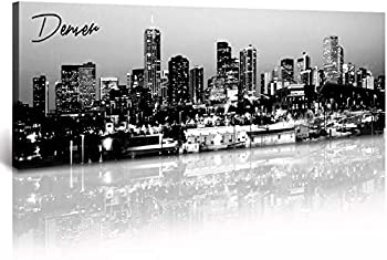 DJSYLIFE- Denver Skyline Wall Art ,Black and White Stretched Canvas Wall Art Prints for Bedroom or Office Decoration Ready to Hang 13.8 x47.3