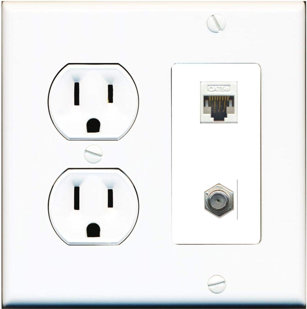 Excellent 15 Amp Round Power Outlet 1 Port Cable-TV Coax Ethernet cheap Cat5e