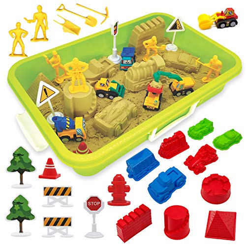 Construction Moving Sand Kit - Tractor Sand Play Set - 2.2 lbs Play Sand 6 Mini Construction Trucks 10 Mold Set 6 Working Figures 11 Road Signs with Luxury Sandbox Birthday Gifts for Boys Girls