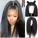 Mydiva Hair Kinky Straight 360 Lace Frontal Wig Pre Plucked Italian Yaki Human Hair Wigs Brazilian 150% Density Remy Lace Front Human Hair Wigs for Women (24 inches, 360 lace frontal wig)