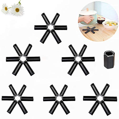 Creative Folding Silicone Heat Insulation Pad, Design Foldable Non-Slip Heat-Insulating Placemat Silicone Trivet Mats Hot Pot Holders Suitable for Household Kitchen Gadgets 6 pack