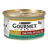 Purina Gourmet Gold Húmedo Gato Dadini en Salsa con Conejo y Zanahorias, 24 latas de 85 g Cada uno, Paquete de 24 x 85 g