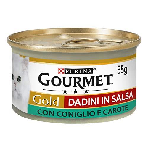 Purina Gourmet Gold Feuchtigkeit Katzenwürfel in Sauce mit Kaninchen und Karotten, 24 Dosen à 85 g, 24 x 85 g