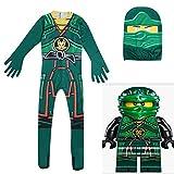 N-B Disfraces de Halloween para niños Ninjago Cosplay Monos Lloyd Kai Ninja Fiesta de Carnaval Ropa Elegante Niños Body Verde Anime