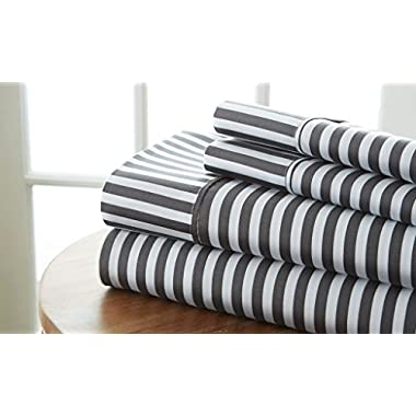 Simply Soft Ultra Soft Ribbon Patterned 4 Piece Bed Sheet Set, Queen, Gray