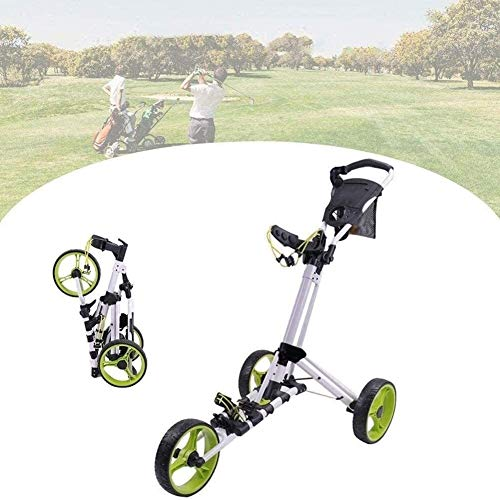 Golftrolley Golfwagen Golf Push Cart, faltbar 3 Räder Pull Wagen Golf-Trolley mit verstellbarem Griff Winkel, Scorecard, Getränkehalter, Leicht Golf Carts, leicht zu öffnen/schließen