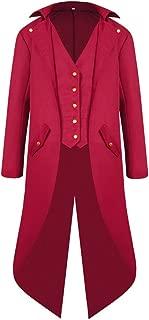 H&ZY Men's Steampunk Vintage Tailcoat Jacket Gothic Victorian Frock Coat Uniform Halloween Costume
