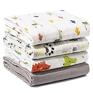 Momcozy de 4 Cobertores para Bebés con Patrón de Animales, 120 * 120 cm, 70% de Bambú, 30% de Algodón en las Mantas para Bebés, Manta Suave para Dormir para el Bebé
