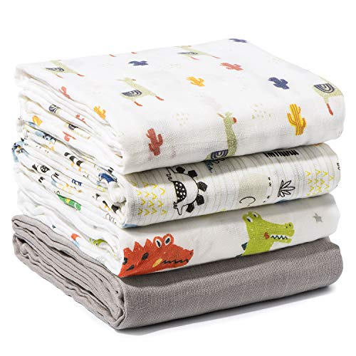 Momcozy 4er-Pack Baby-Wickeltücher mit Tiermuster, 120x120cm, 70% Bambus, 30% Baumwolle Babydecken, Weiche Schlafdecke für Babys, Bunte Musselintücher für Jungen zum Warmhalten