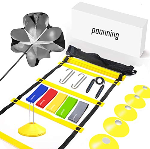 Polynea Speed Agility Training Set– Increase Speed Fitness with 20 ft/12 Rung Agility Ladder, 10 Cones, 5 Latex-Free Resistance Bands, Carry Bag, Speed Jump Rope and Footwork Drills Equipment