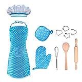 SOKY Kochschürze für Mädchen 3-7 Jahre, Mädchen Geschenk Alter 4 5 6 7 Kinder Kochset mit Schürze Tolles Spielzeug 3-7 Jahre Mädchen Geburtstagsgeschenkefür Mädchen ab 3-7 Jahre Kinderküche Kochen