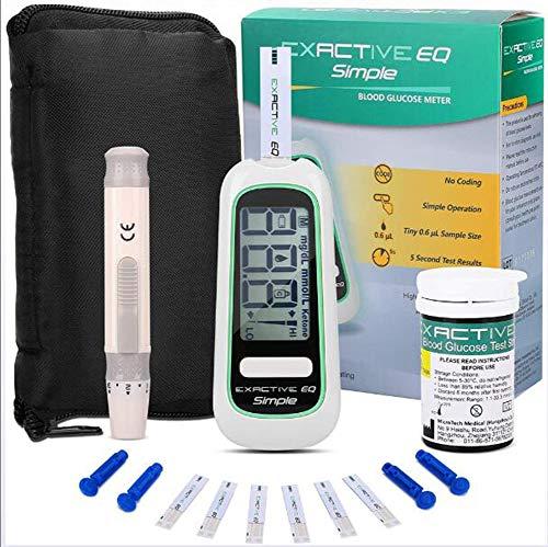 LLQ Blutzuckermessgerät Set, Automatischer Codefree-Blutzuckertester mit 50 Teststreifen und 50 Lanzetten für ältere Menschen zu Hause