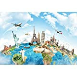 Yeele 5x3ft Globe Travel Backdrop Earth Map Worldwide Continent Famous Landmark Scenery Home Photography Background Around The World Infant Baby Adult Portrait Photo Booth Studio Props Photocall