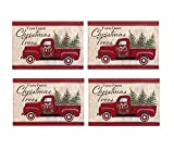 Newbridge Pine Hill Christmas Tree Farm Fabric Holiday Placemats - Nostalgic Retro Christmas Farm Truck Print Placemats, Set of 4 Farm Fresh Red Truck Placemats