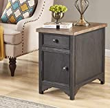 Audrey Living Salazar Chairside End Table with Storage and Built-in USB Ports & Outlets - Black Color