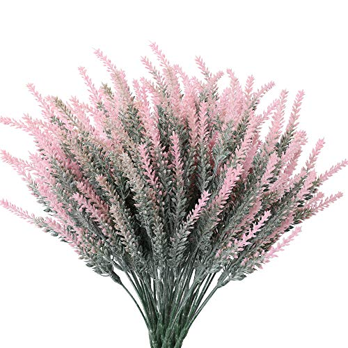 Floweroyal Artificial Lavender Flowers 8pcs Fake Plants with Faux Plastic Wedding Bouquet for Table Centerpieces Home Kitchen Garden Farmhouse Decor (White).