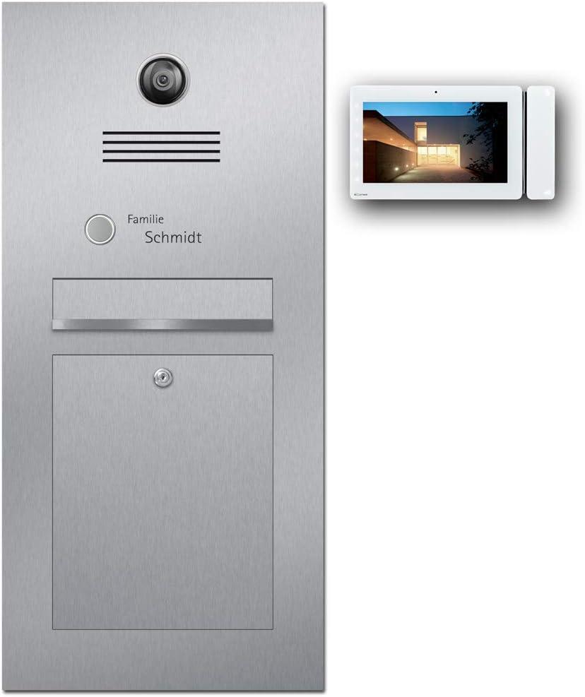 Briefkasten Türsprechanlage und Einbaulautsprecher - z-e-d Briefkasten Edelstahl B3V Maxi mit Comelit Videosprechanlage