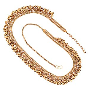 I Jewels Traditional Gold Plated Stone Studded Kamarband for Women