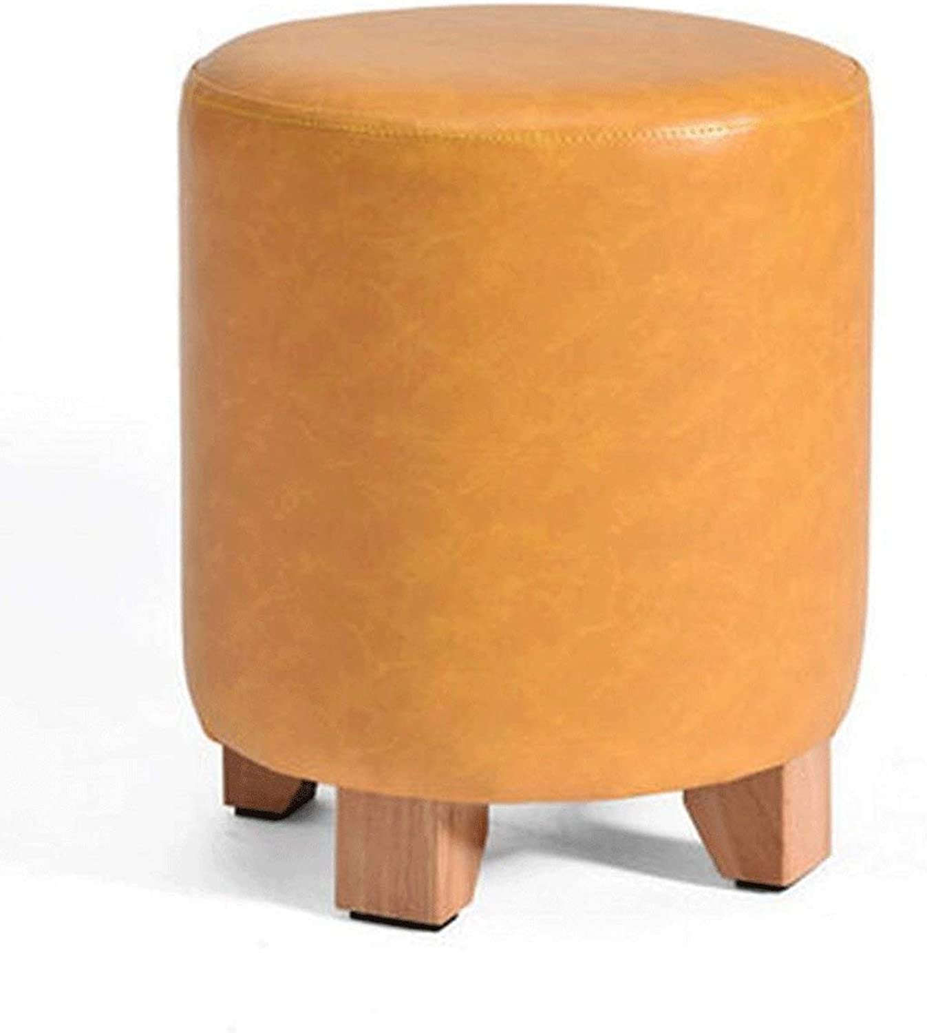 DYR Leather Stool in Solid Wood shoes Stool for Small Bench Stool in European Style Round Stool (color  A, Size  S)
