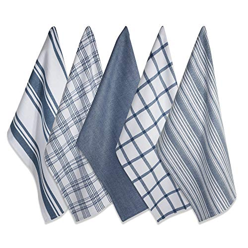 "DII Kitchen Dish Towels (Stone Blue, 18x28""), Ultra Absorbent & Fast Drying, Professional Grade Cotton Tea Towels for Everyday Cooking and Baking - Assorted Patterns, Set of 5"