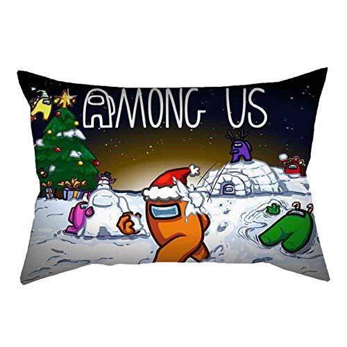 shenguang Among Us Pillowcase Bedroom Cushion Sus Among Us Game Pillow Covers 20x14 Inch(Christma-Black)