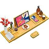 Biemlerfn Bambus Badewanne Caddy, Badewannenablage Ausziehbar Spa Organizer Tablett für Badezimmer,...