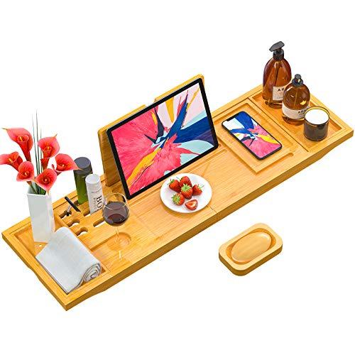 Biemlerfn Bath Tray, Bamboo Bathtub Caddy Tray Extendable Spa Organizer Tray for Bathroom, Bonus Free Soap Holder, Premium Bamboo Material of...