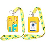 Badge Holder with Zipper, Cute PU Leather ID Badge Holder Wallet with Lanyard, 2-Sided 5 Card Slots and Key Ring for Offices ID, School ID, Driver Licence ect