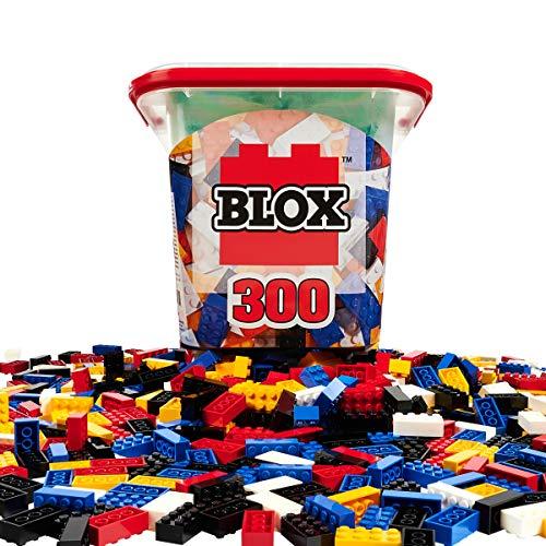Simba 104114202 - Blox 300 Bausteine für Kinder ab 4 Jahren, 8er Steinebox mit Grundplatte, vollkompatibel, farblich gemischt, schwarz, rot, weiß, gelb, blau