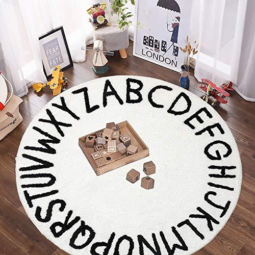 SHACOS Kinderzimmerteppich Mädchen Rund Weiß Kinderteppich Rund Krabbelunterlage Baby Teppich Babyzimmer Spielteppich Kinderzimmer Baby Bodenmatte krabbelmatte Baumwollteppich 120 cm
