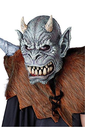 KULTFAKTOR GmbH Wasserspeier Ani-Motion Halloween-Maske Monster grau Einheitsgröße