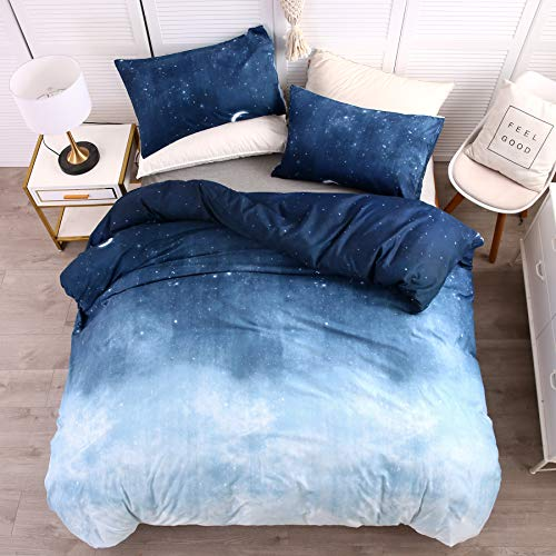 LAMEJOR Duvet Cover Set Queen Size Galaxy Outer Style Moon/Star Pattern Gradient Luxury Soft Bedding Set Comforter Cover (1 Duvet Cover+2 Pillowcases) Blue