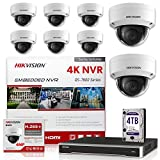 HIKVISION NVR 4K 16 Channel PoE DS-7616NI-Q2/16P KIT w/ 8 Hikvision DS-2CD2143G0-I Dome 2.8mm New H.265+ 4MP IP Camera [Replacement Model for DS-2CD2142FWD-I] International Upgradeable Firmware VER