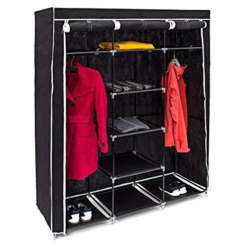 Relaxdays Faltschrank VALENTIN XXL H x B x T: 173 x 148 x 42,5 cm Stoffschrank mit 2 Kleiderstangen und 9 Ablagen als Garderobenschrank und Campingschrank zum Falten Kleiderschrank aus Stoff, schwarz