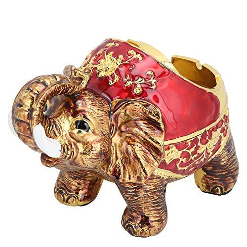 Natruss Cenicero de Elefante Aleación de Zinc Aleación de Oro Rojo Elefante Cenicero Sala de Estar Oficina KTV para el hogar(Golden Red Full Color)