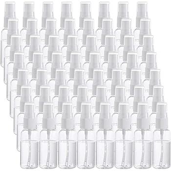 60 botellas de plástico transparente con aerosol, rellenables, pequeñas botellas de plástico vacías para viajes, aceites esenciales, perfumes