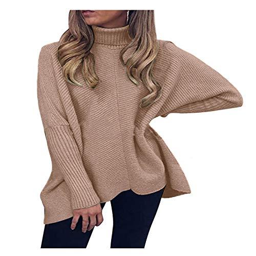 AILIEE Damen Rollkragenpullover Einfarbiger Pullover Mode Frauen Beiläufig...