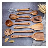 Suntric - Juego de utensilios de cocina de madera de acacia natural, 9 piezas, juego de herramientas de cocina para utensilios de cocina antiadherentes resistentes al calor