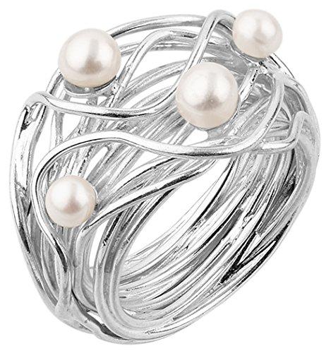 Nenalina Damen Ring Perlenring besetzt mit 2 Süsswasserperlen 4 mm und 2 Süsswasserperlen 5 mm in weiß, handgearbeitet aus 925 Sterling Silber, Gr....