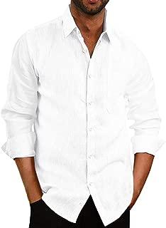 Mens Long Sleeve Shirts Button Down Linen Cotton Fishing Tees Spread Collar Plain Shirts