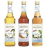 Monin Light Set (3 x 0.7l Flaschen: Vanille Light, Caramel Light, Haselnuss Light)