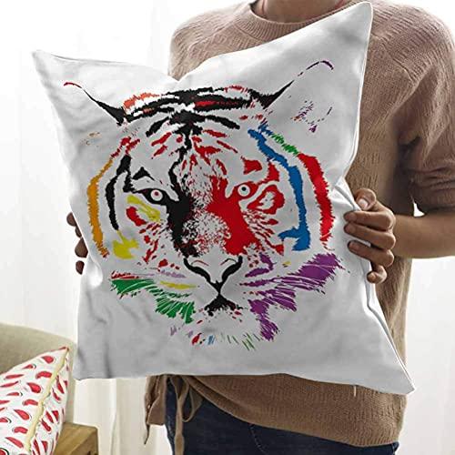 N\A Fundas de Almohada de Tiro de Animales Decorativas Coloridas Cara de Tigre Retrato Funda de Almohada para sofá Cama de Coche