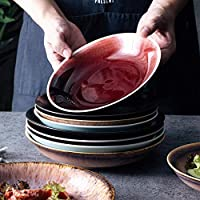 食器プレート28cm磁器ディナープレート中国陶磁器皿プレートスーププレート深皿青と白の磁器家庭用食器-スナックPl